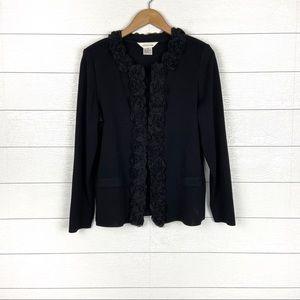Misook Black Floral Applique Sweater Jacket